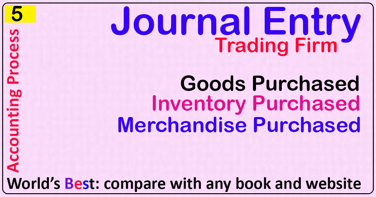 Journal Entry: Goods Purchased, Inventory Purchased ...